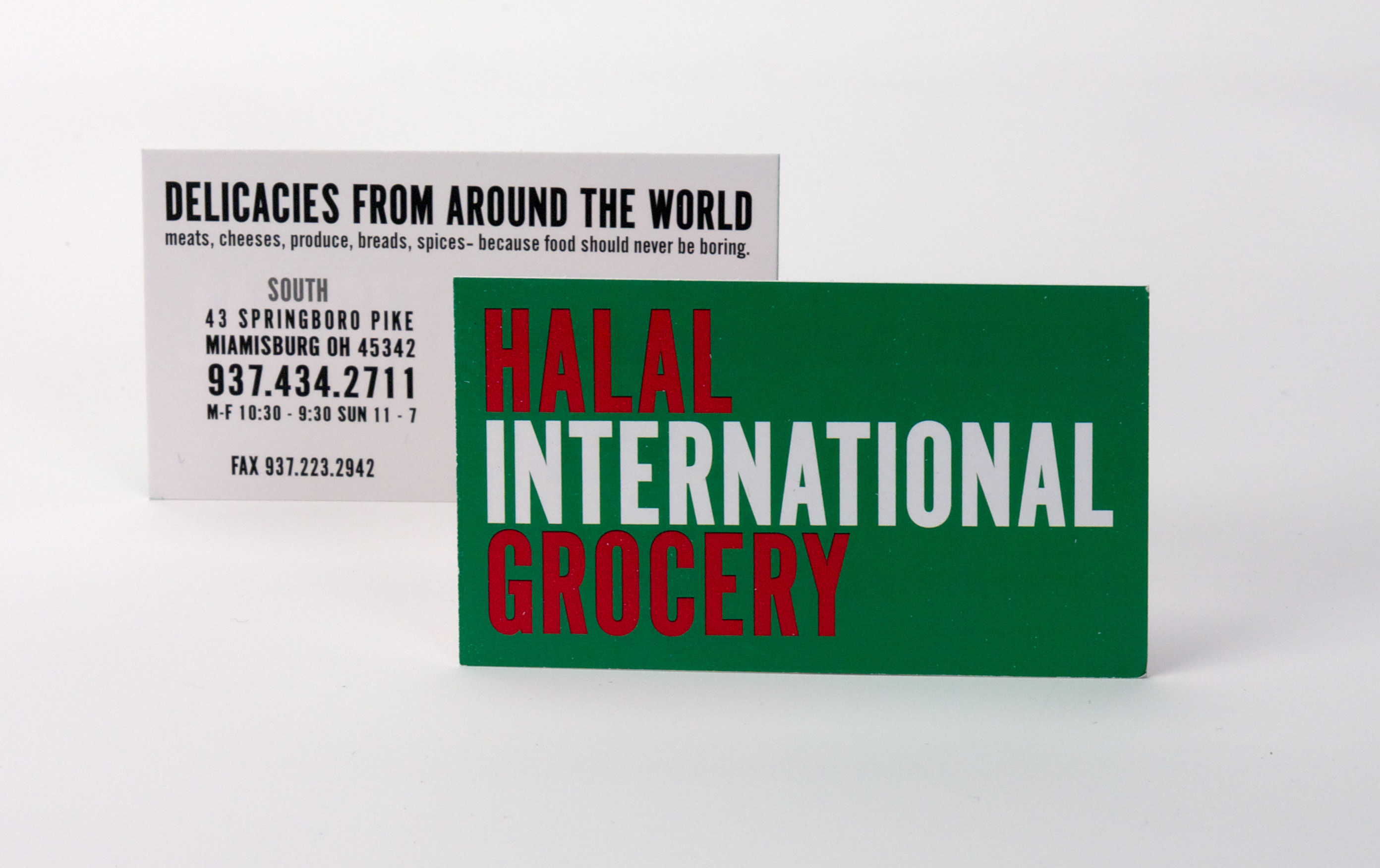 Business card for local grocery, Halal