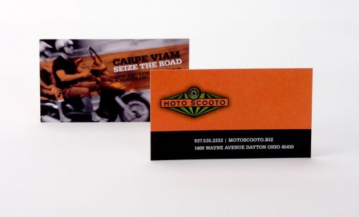 Business card for local business Moto Scooto